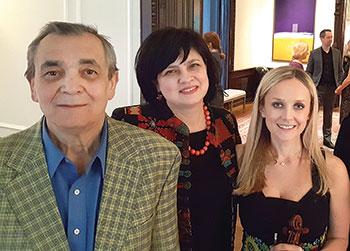 Yevhen Stankovych, his daughter Rada Stankovych (center) and Solomiya Ivakhiv at the Ukrainian Institute of America.