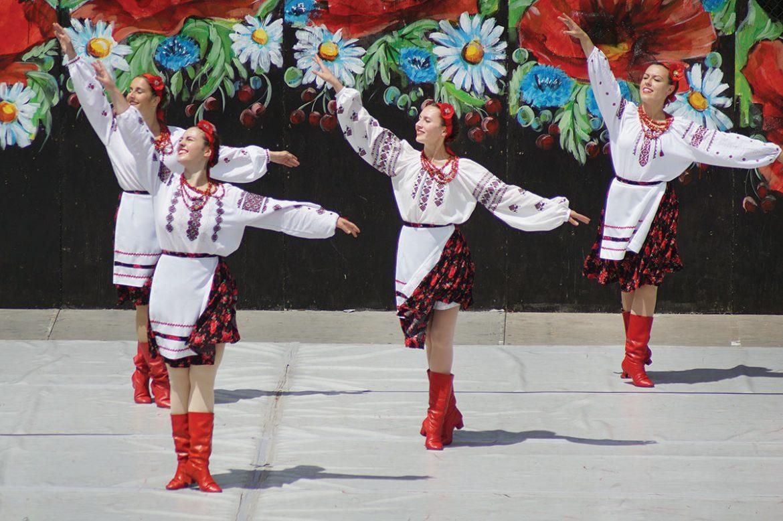 "Ladies of the Roma Pryma Ukrainian Dance Workshop perform ""Viterets."""