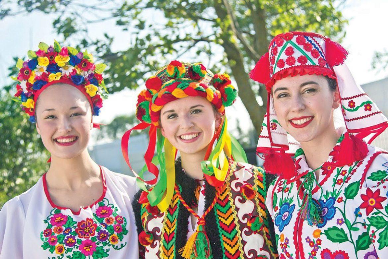 Svitanok dancers in traditional Ukrainian clothing.