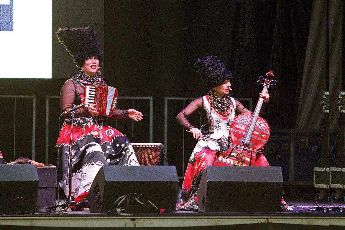 DakhaBrakha performs on the main stage.