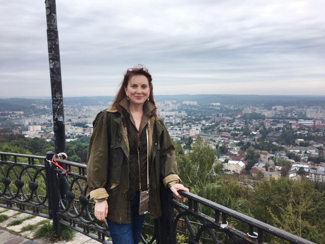 Holly Palance in Lviv, at the top of Vysokyi Zamok, or Castle Hill, which overlooks the city.
