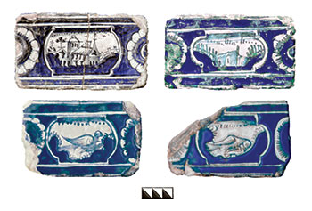 Tiles with glazed painting in the Dutch style from the adornment of the stoves of Rozumovsky's buildings, from the Baturyn National Preserve.