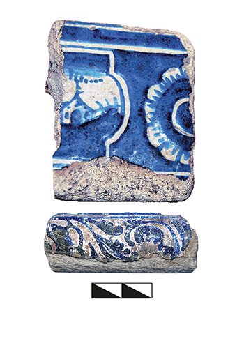 Fragments of small ceramic stove tiles from the second part of 18th century with glazed images in the Dutch style, from the 2016 excavations in Baturyn.