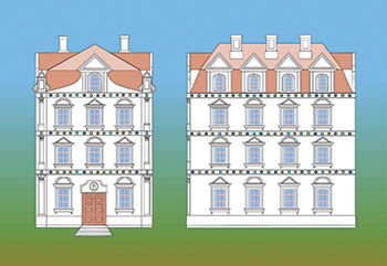 Frontal and lateral elevations of Ivan Mazepa's palace in Honcharivka, a suburb of Baturyn before 1708. (Hypothetical reconstruction by Volodymyr Mezentsev, computer graphic by Serhii Dmytriienko.)