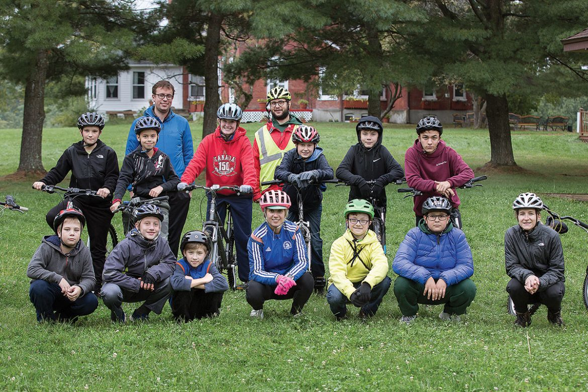 Plast scouts and their counselors are ready for their bicycle trip.