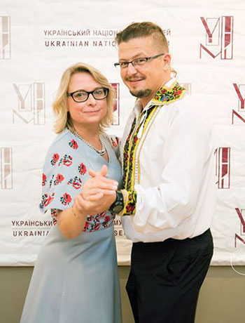 Masters of ceremonies Oryna Hrushetsky and Ivan Shmilo.