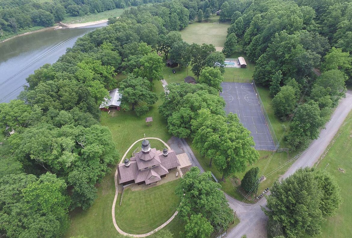 90-acre campus of All Saints Camp in Emlenton, PA., as seen from an aerial drone