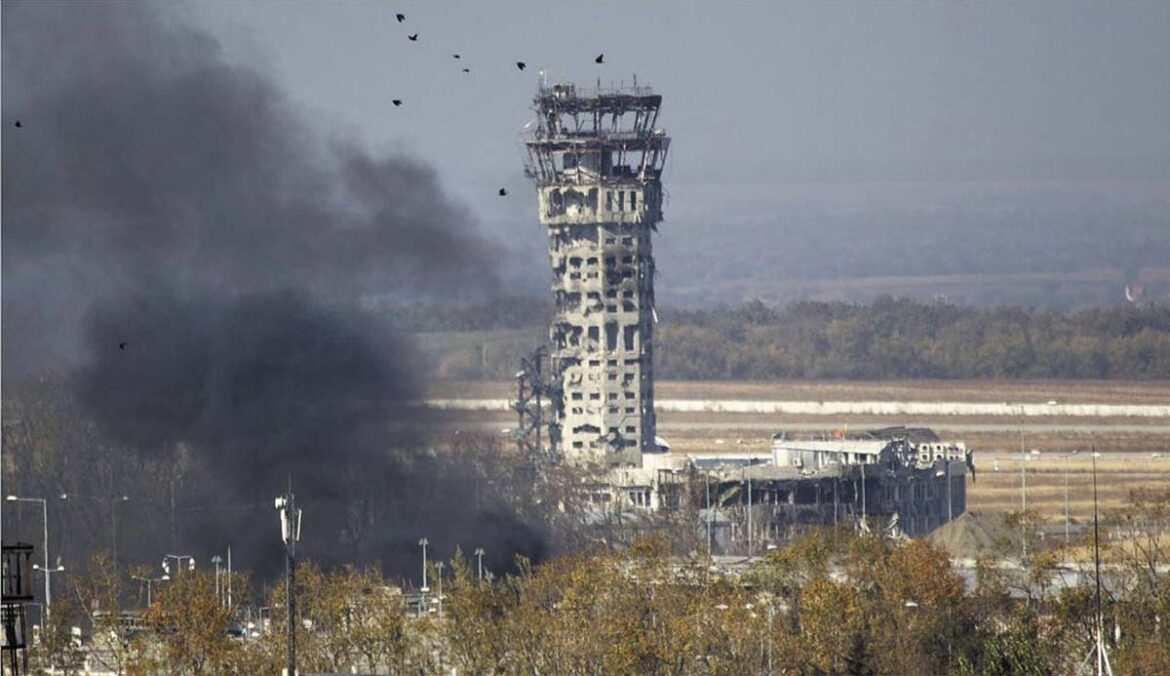 Damaged and smoking Donetsk Airport Control Tower