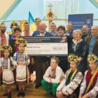 The Australian Federation of Ukrainian Organizations presenting the Australian Red Cross with a check for bushfire relief