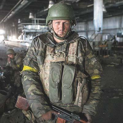 Former Ukrainian machine gunner Oleksiy Matlak at the Donetsk Airport