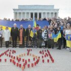 Members of the Ukrainian American community commemorate the Heavenly Hundred in front of the Lincoln Memorial