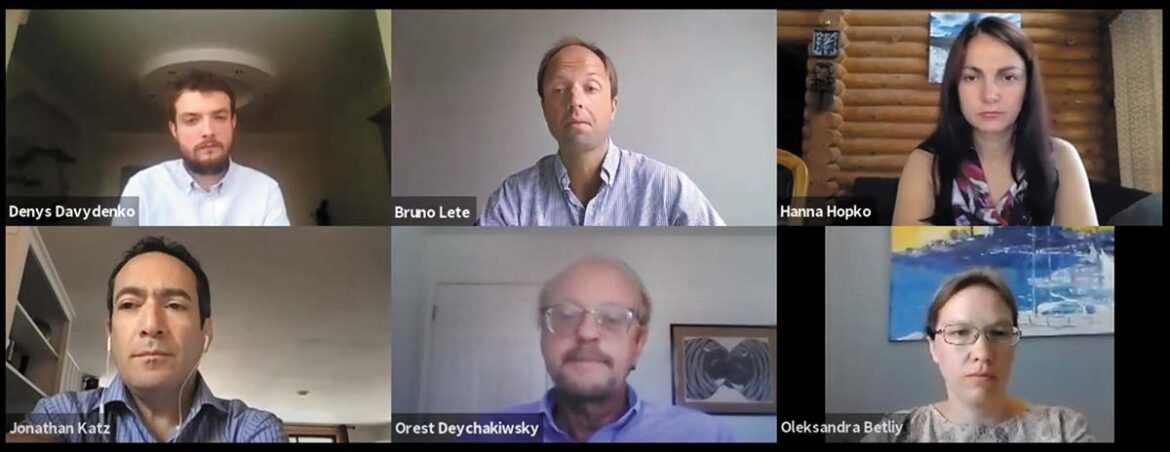 """A screenshot of participants in the webinar """"Ukraine's Reform Stagnation: The Path Forward in a Time of Crisis"""" on July 1 online"""